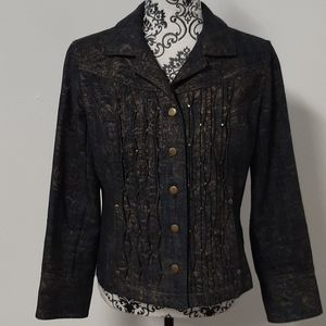 Coldwater Creek Blue & Gold Light Jean Jacket
